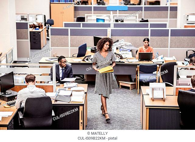 Businesswoman carrying files in office