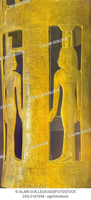 Egypt, Cairo, Egyptian Museum, from the tomb of Yuya and Thuya in Luxor, detail of the gilded bands for Thuya mummy, made of cloth and plaster : Isis and...