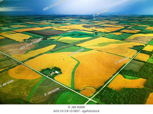 Agriculture - Aerial view of farmsteads and fields of mature winter wheat in Spring / KS, nr. Elmo