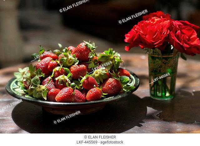 Bowl of strawberries, El Fenn, Marrakech, Morocco