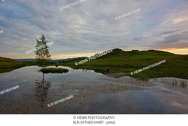 Cloudy sky reflected in still lake