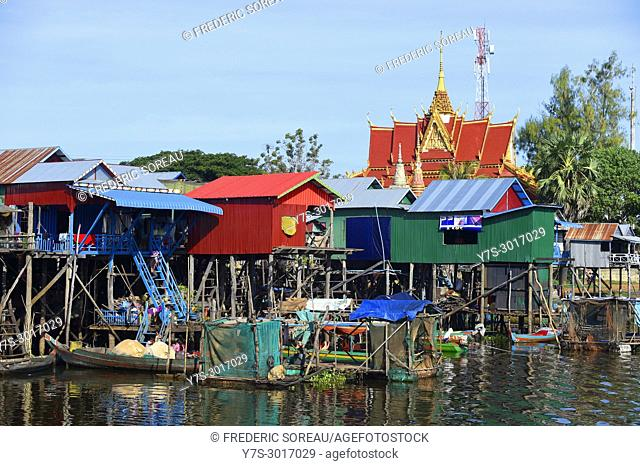 Pagoda in Kampong Phluk floating village, Tonle Sap Lake, Siem Reap Province, Cambodia, South East Asia, Asia