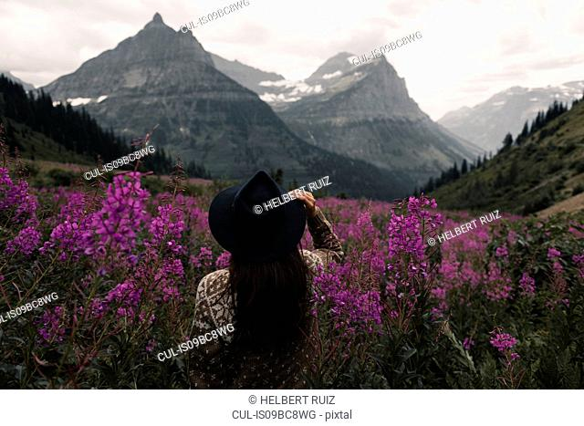 Woman looking out at mountain ranges, Glacier National Park, Montana, USA
