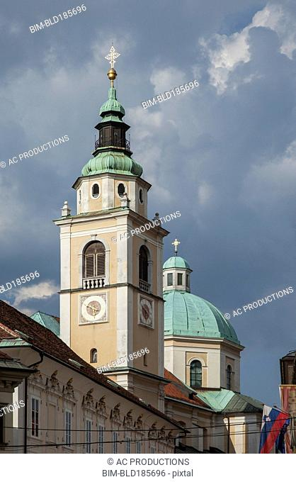 Low angle view of ornate church tower and dome