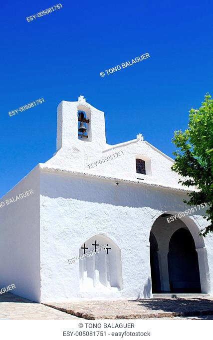Ibiza white church in Sant Carles Peralta