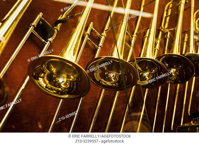 Musical instruments for sale. Brass instruments. Amsterdam Shop