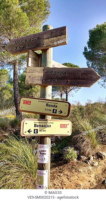 The Great Malaga Path Path signs near Ronda City, Málaga province, Andalusia, Spain