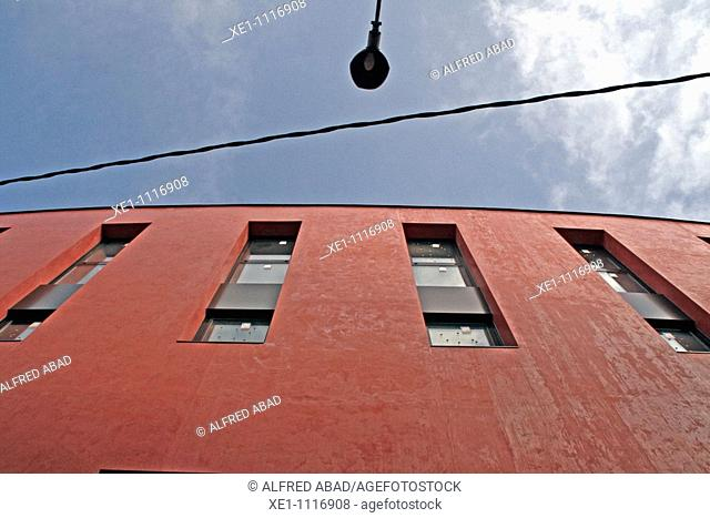 windows, lamppost, electric cables, Capellades, Catalonia, Spain