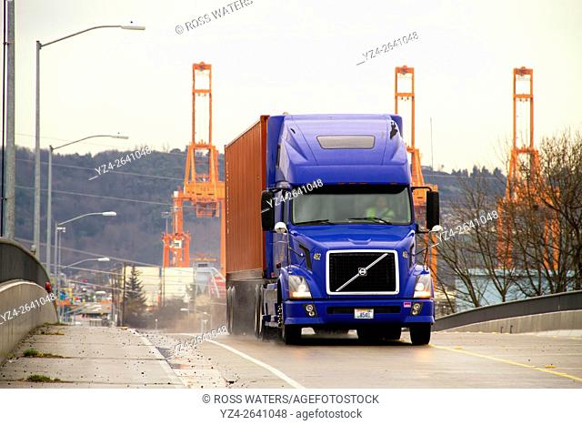 A truck at the port in Tacoma, Washington, USA