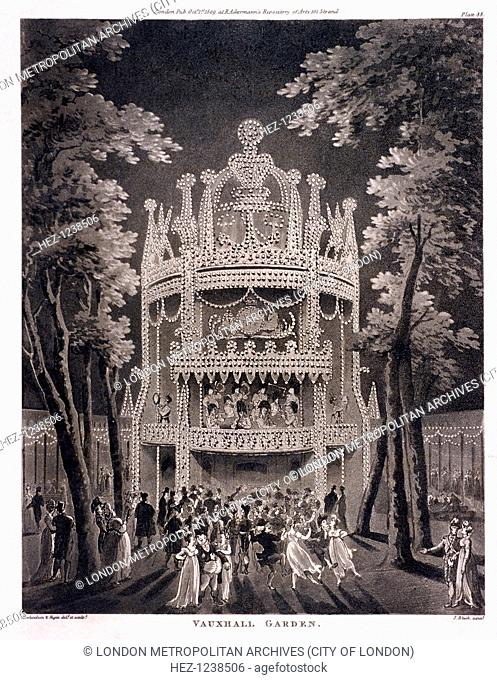 View of Vauxhall Gardens, Lambeth, London, 1809; a night scene with figures dancing
