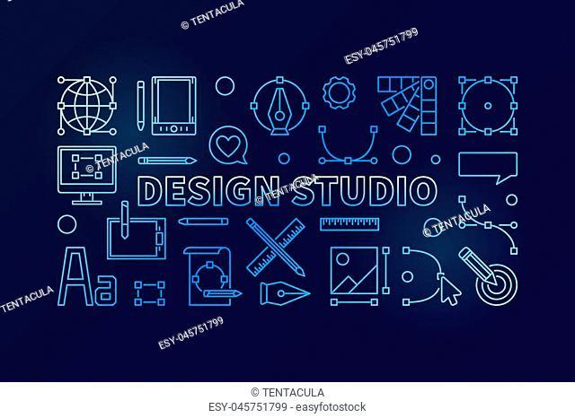Design studio blue vector concept illustration or horizontal banner in thin line style on dark background