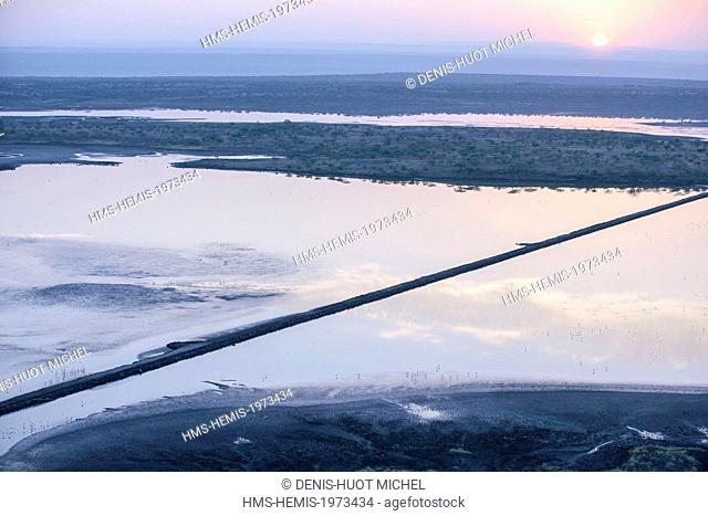 Kenya, Lake Magadi, at sunrise (aerial view)