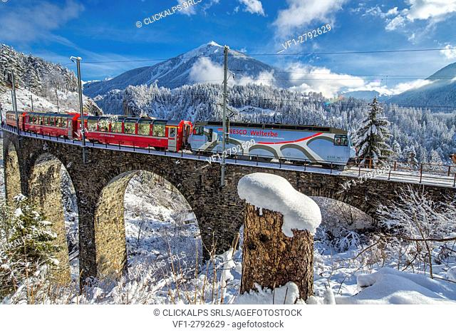Bernina Express passes through the snowy woods Filisur Canton of Grisons Switzerland Europe