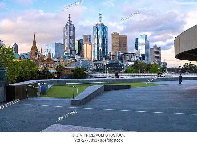Melbourne city skyline seen from Southbank