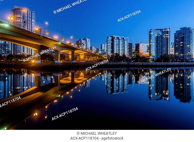 Cambie Street Bridge and Yaletown condo towers, False Creek, Vancouver, British Columbia, Canada