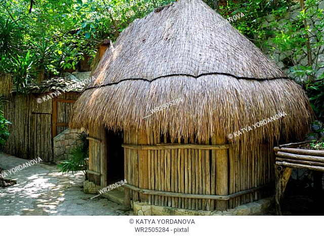 A thatch hut in Xcaret, Mexico