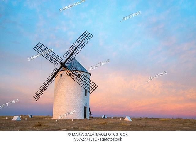Windmill at dusk. Campo de Criptana, Ciudad Real province, Castilla La Mancha, Spain