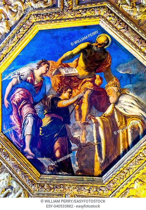 Tintoretto Titian Doge Angels Painting Palazzo Ducale Doge's Palace Venice Italy. Doge's Palace was the residence of the Venetian ruler from 1200s to 1787