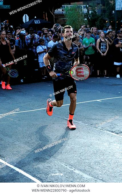 "Nike's """"NYC Street Tennis"""" Event Featuring: Grigor Dimitrov Where: New York City, United States When: 24 Aug 2015 Credit: Ivan Nikolov/WENN.com"
