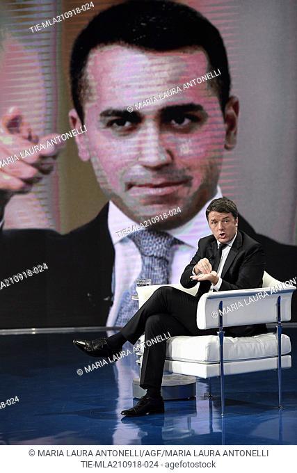 Former Italian Prime Minister Matteo Renzi during the tv show Porta a porta in Rome, ITALY-20-09-2018