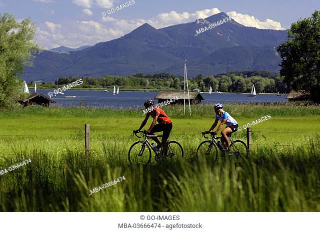 Racing cyclist at the Lake Chiemsee, Upper Bavaria