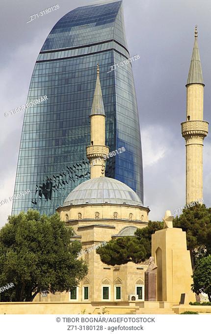 Azerbaijan; Baku; Martyrs' Mosque; Flame Tower, Sehitlik Mescidi;