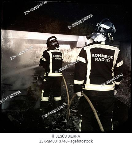 Firemans in Madrid, Spain