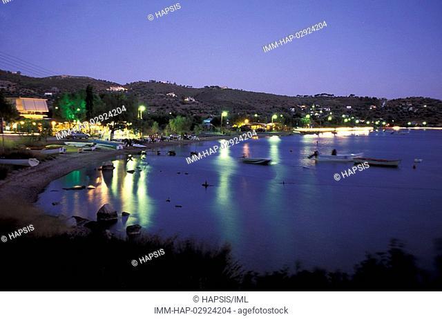 Lake Vouliagmeni, view, evening, Loutraki, Corinthia, Peloponnese, Greece