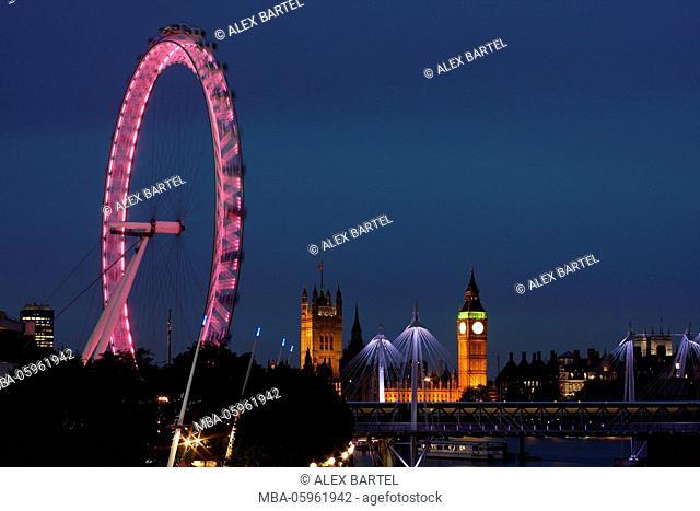 London Eye, Houses of Parliament, Big Ben, London, England
