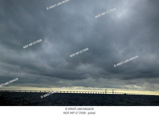 Cloudy sky over the Oresund bridge