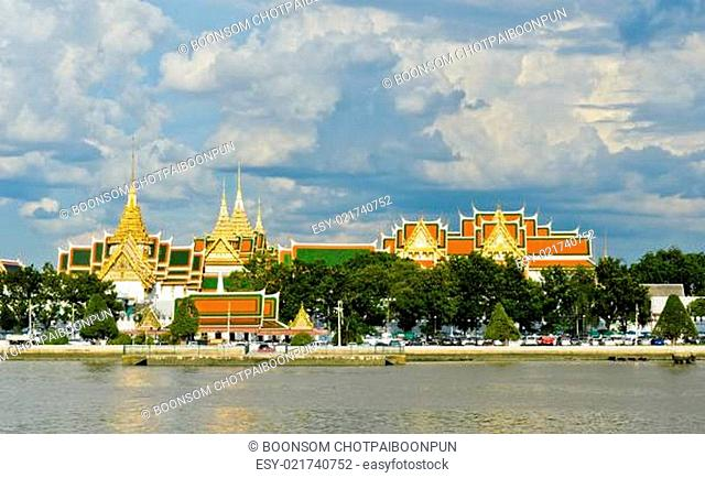 The Grand Palace as seen from across the Chao Phraya River