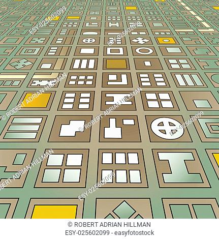 Abstract editable vector stylized map of a generic city in a grid pattern from an angled perspective