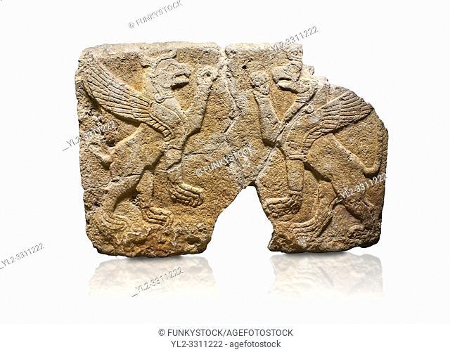 Hittite monumental relief sculpted orthostat stone panel Orthostats of a Procession. Limestone, Karkamıs, (Kargamıs), Carchemish (Karkemish), 900 700 BC
