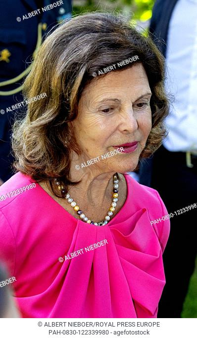 Queen Silvia of Sweden at Solliden Palace in Borgholm, on July 14, 2019, to attend the celebrations of Crown Princess Victoria her 42nd birthday