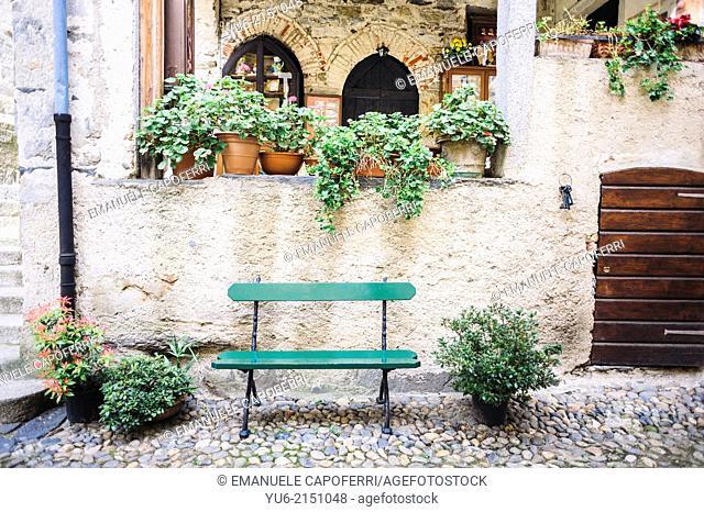 Characteristic angle, San Giulio Island, Lake Orta, Piedmont, Italy