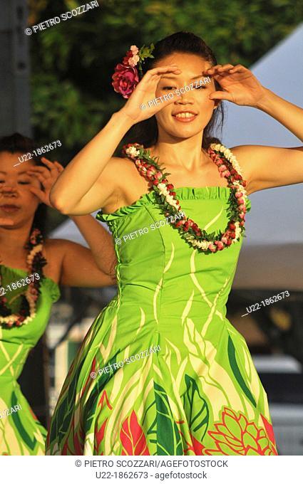 Naha, Okinawa, Japan, Hawaiian Hula dance at Tomari Wharf during the Tomari Friend Ship Festival