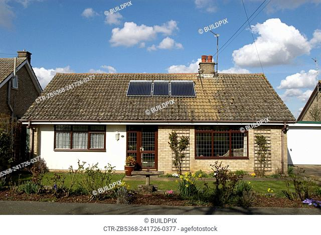 Solar hot water panels on a house in the United Kingdom