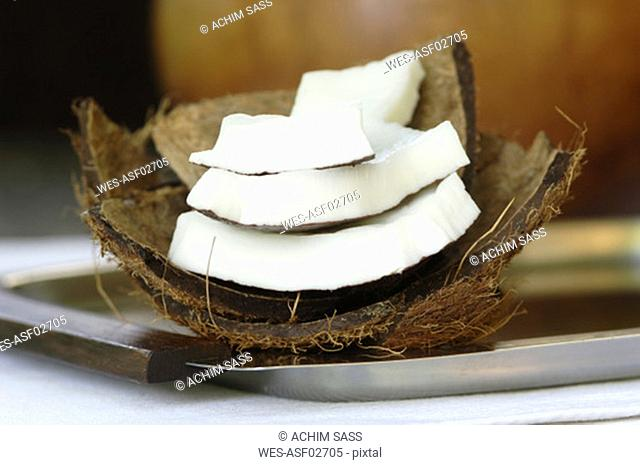 Fresh coconut slices, close-up