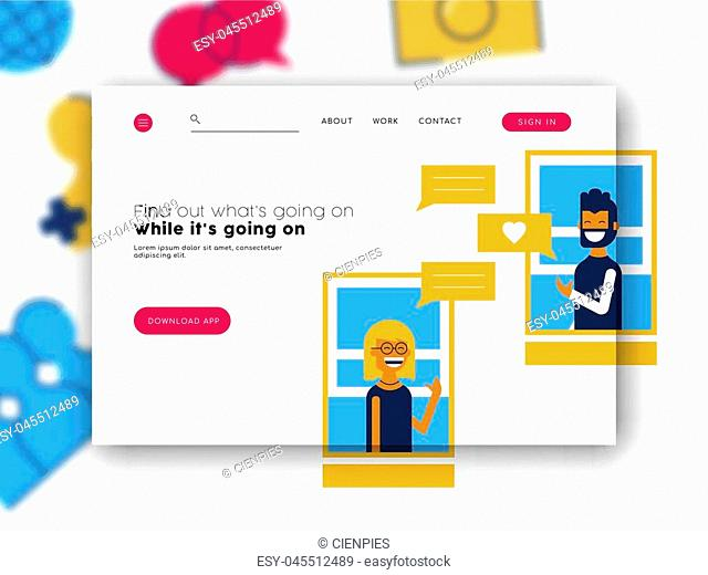 Social media app online landing page template with modern style illustration of friends talking for internet chat network. EPS10 vector