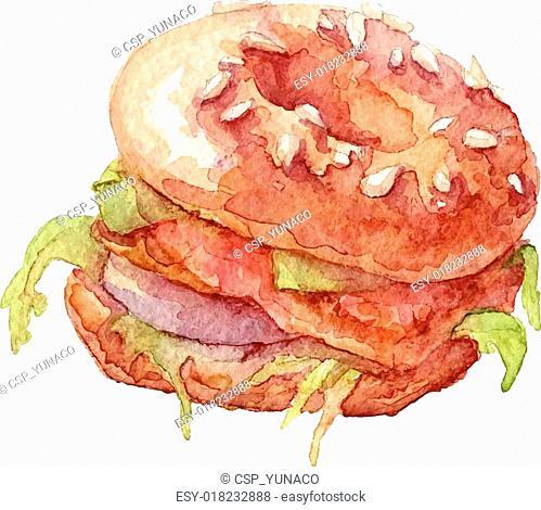 Watercolor bagel, sandwich, vector art