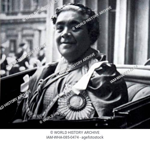 Photograph of Queen Salote Tupou III (1900-1965) during her visit to Buckingham Palace. Dated 20th Century