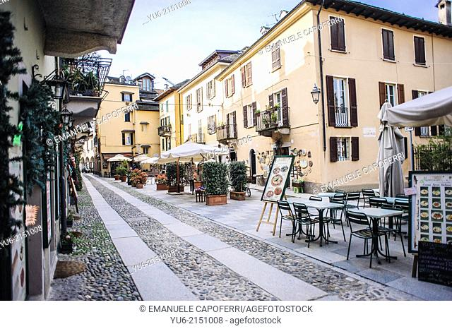 Centre Street, village of Orta, Lake Orta, Piedmont, Italy
