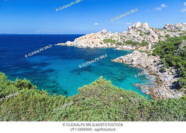 Green plants frame the turquoise sea and cliffs Capo Testa Santa Teresa di Gallura Province of Sassari Sardinia Italy Europe
