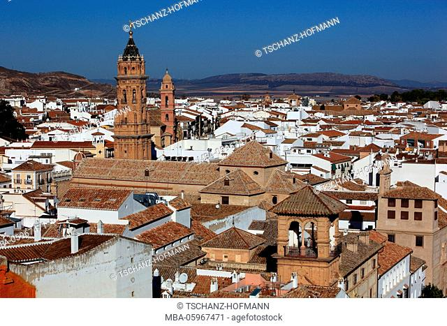 Antequera, Spain, Andalusia, Antequera, city, view to the old town and the church San Sebastian