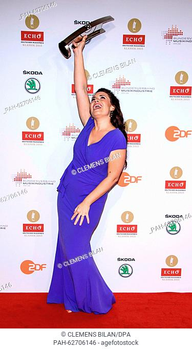"""Winner in the """"""""up-and-coming artist of the year (singing)"""""""" category, Bulgarian opera singer Sonya Yoncheva, poses barefoot at the Echo Klassik 2015 classical..."""