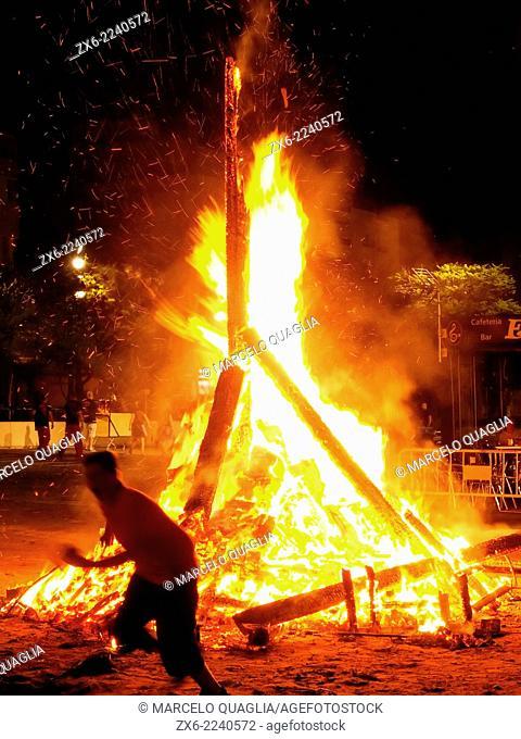 Bonfire of St. John's Night (nit de Sant Joan) to celebrate Summer Solstice arrival at Sant Carles de la Rapita Village. Ebro River Delta Natural Park