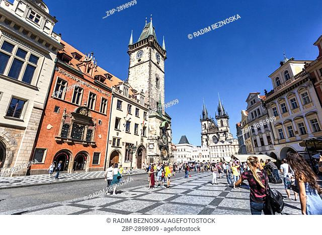 Prague in summer, Old Town Square, City Hall, Tourists, Czech Republic, Europe