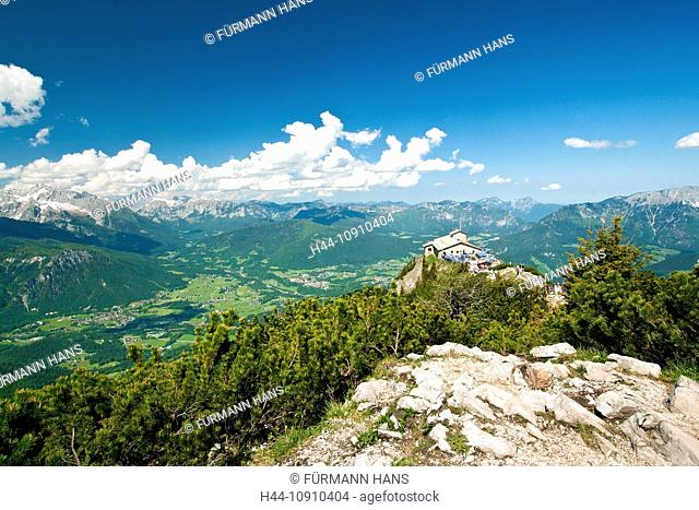Europe, Germany, Bavaria, Upper Bavaria, Berchtesgaden land, Berchtesgaden, Kehlstein, throaty stone house, summit, peak, sky, blue, Alps, mountains, cliff