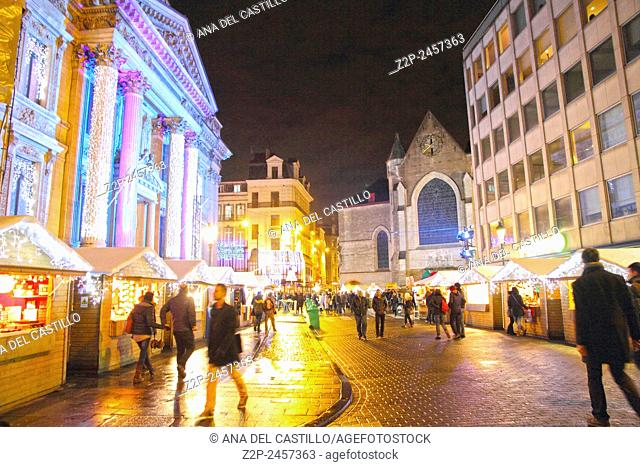 BRUSSELS BELGIUM-DEC 7: Stock exchange building on Christmas time on Dec 7, 2014 in Brussels