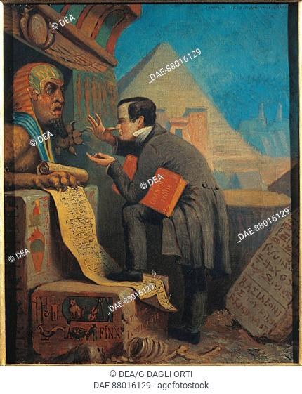 Jules Chevrier (1816-1883), Ironic Portrait of Francois Chabas (Briancon, 1817 - Versailles, 1882), French egyptologist, an expert on Egyptian hieroglyphs, 1858